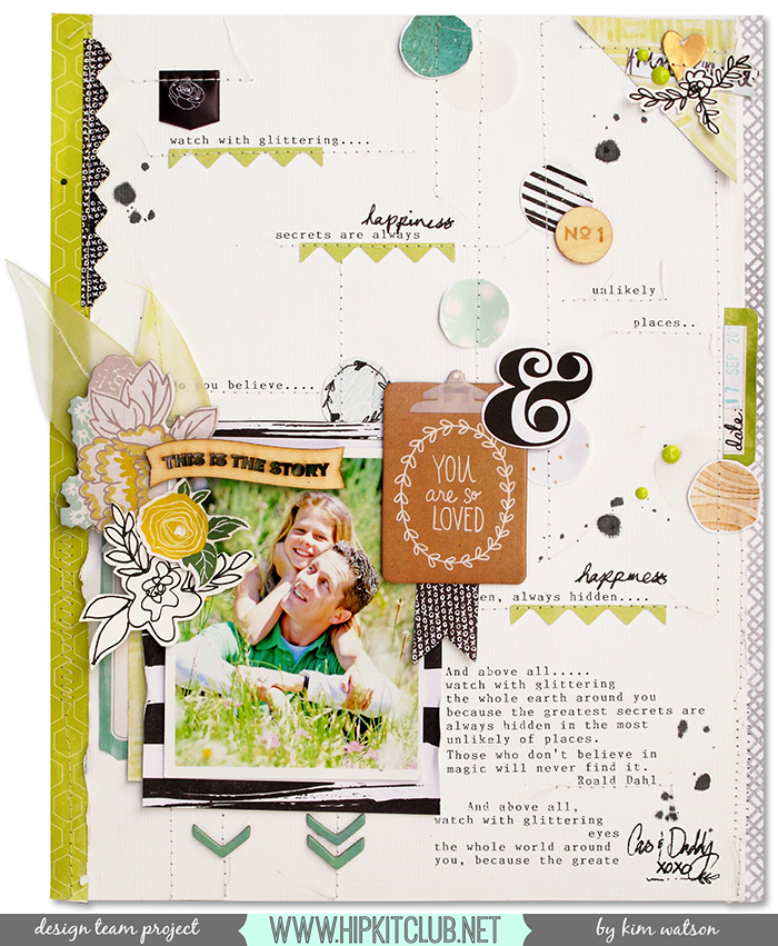 @Hip Kit Club #February2015 by @KimWatson #hipkitclub #scrapbooking #12x12 #layout